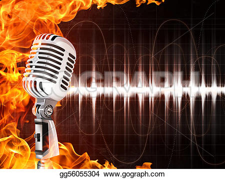 Microphone clipart on fire Illustration on Old Stock microphone