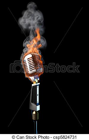 Microphone clipart on fire Illustration microphone black Clipart