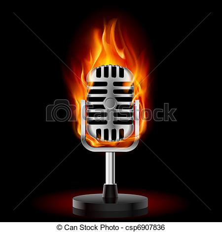 Microphone clipart on fire Microphone black in Fire Fire