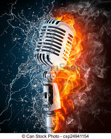 Microphone clipart on fire On  Fire and and