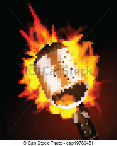 Microphone clipart on fire In Fire Black csp19780451 Background