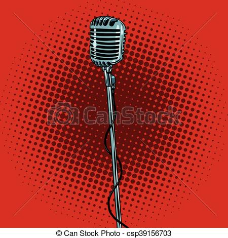 Microphone clipart pop concert  illustration retro pop microphone