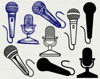 Microphone clipart school announcement Silhouette Microphone Etsy cut microphone