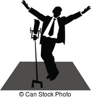 Microphone clipart solo singer Art jazz Vector stage Royalty