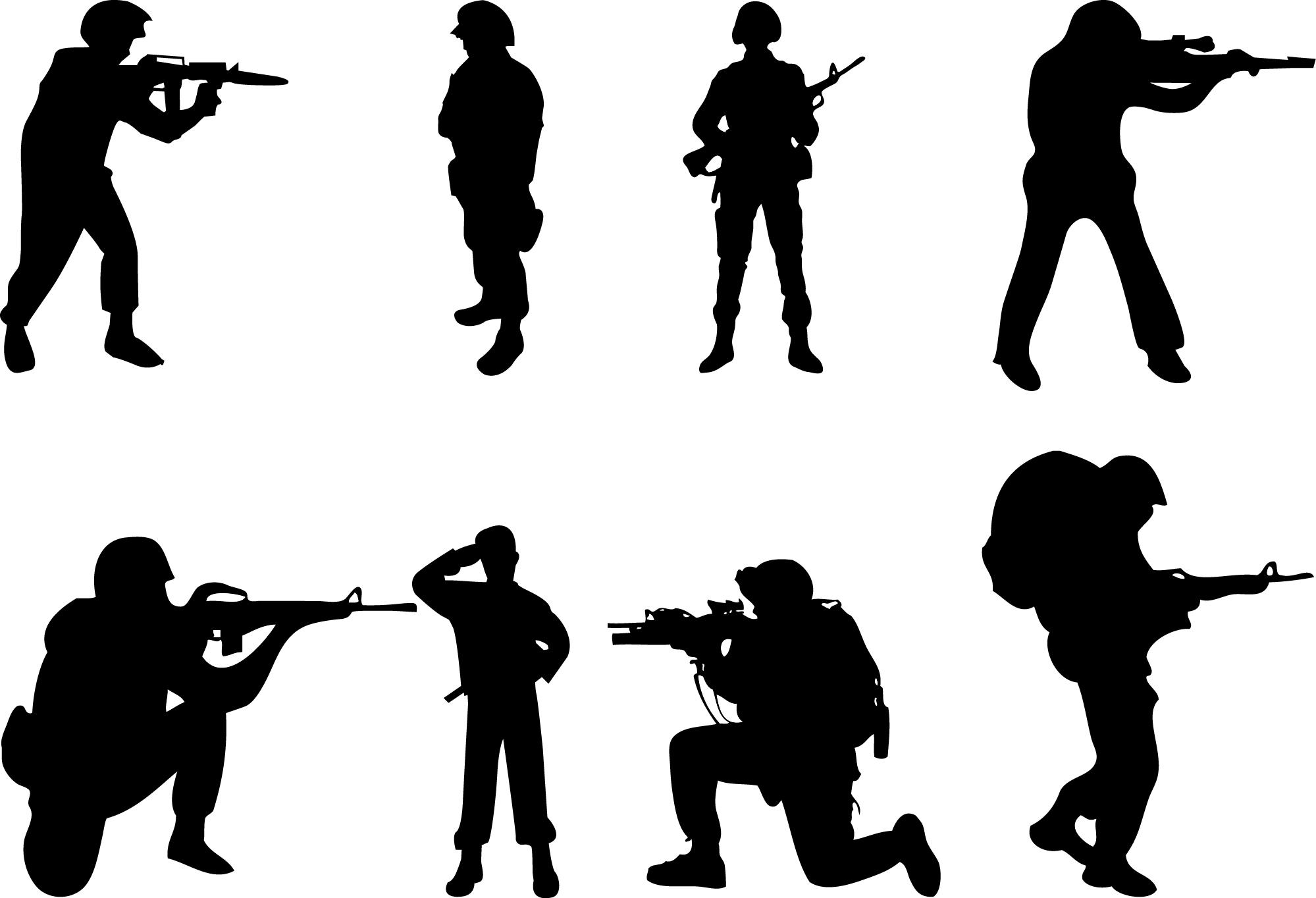 Shaow clipart military Kid silhouette clipart Army clip