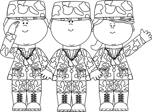 Soldiers clipart black and white