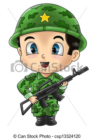 Military clipart cute Illustration EPS Soldier a and