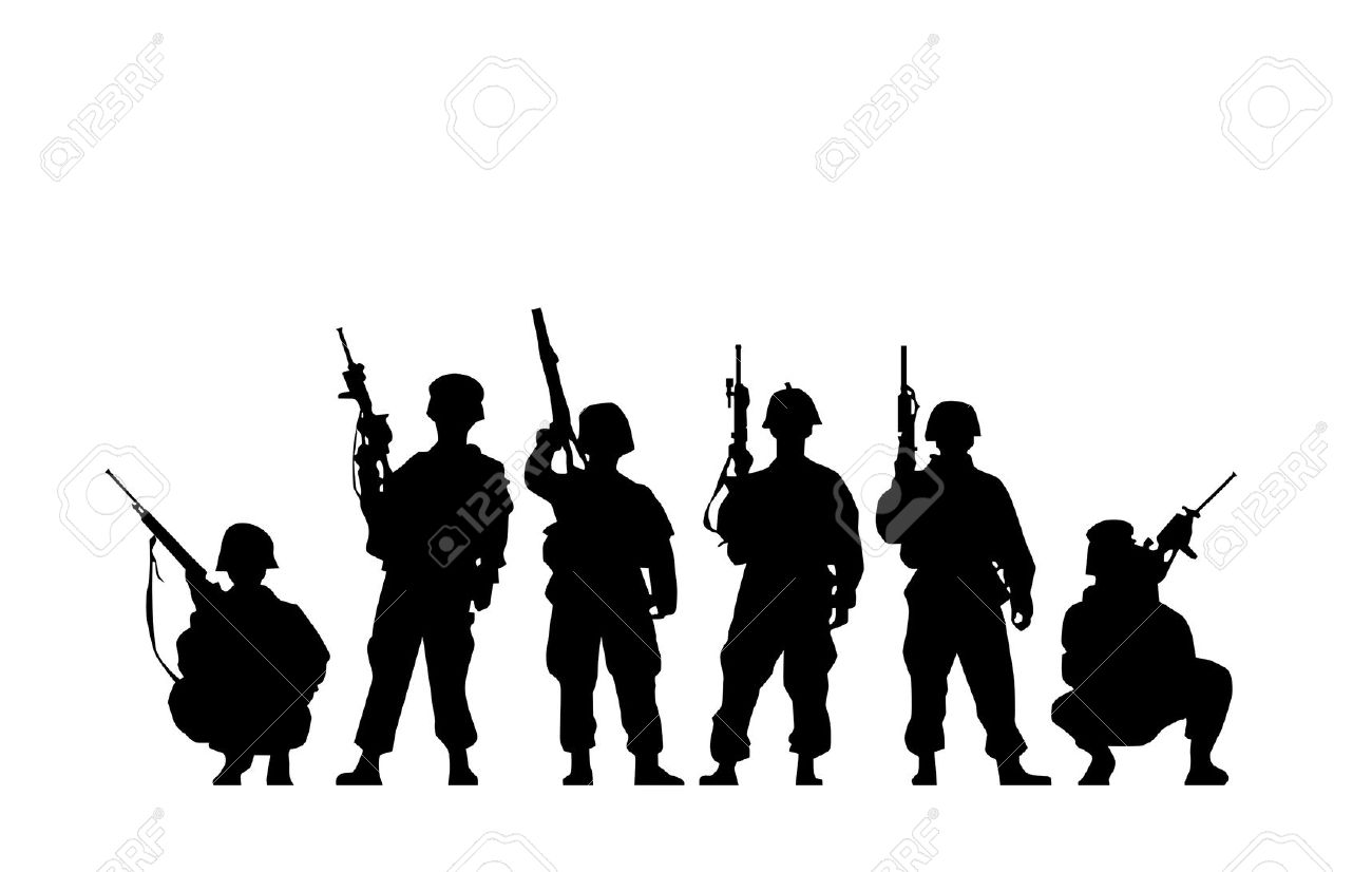 Military clipart group soldier Military Collection  silote Silhouette