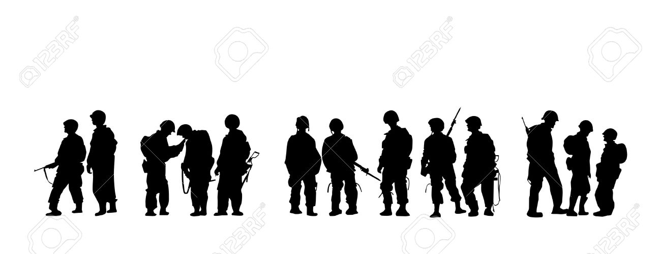 Military clipart group soldier Soldiers silhouette In With collection