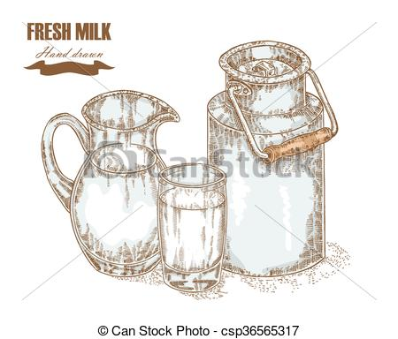 Milk Jug clipart glass drawing Hand and milk with can