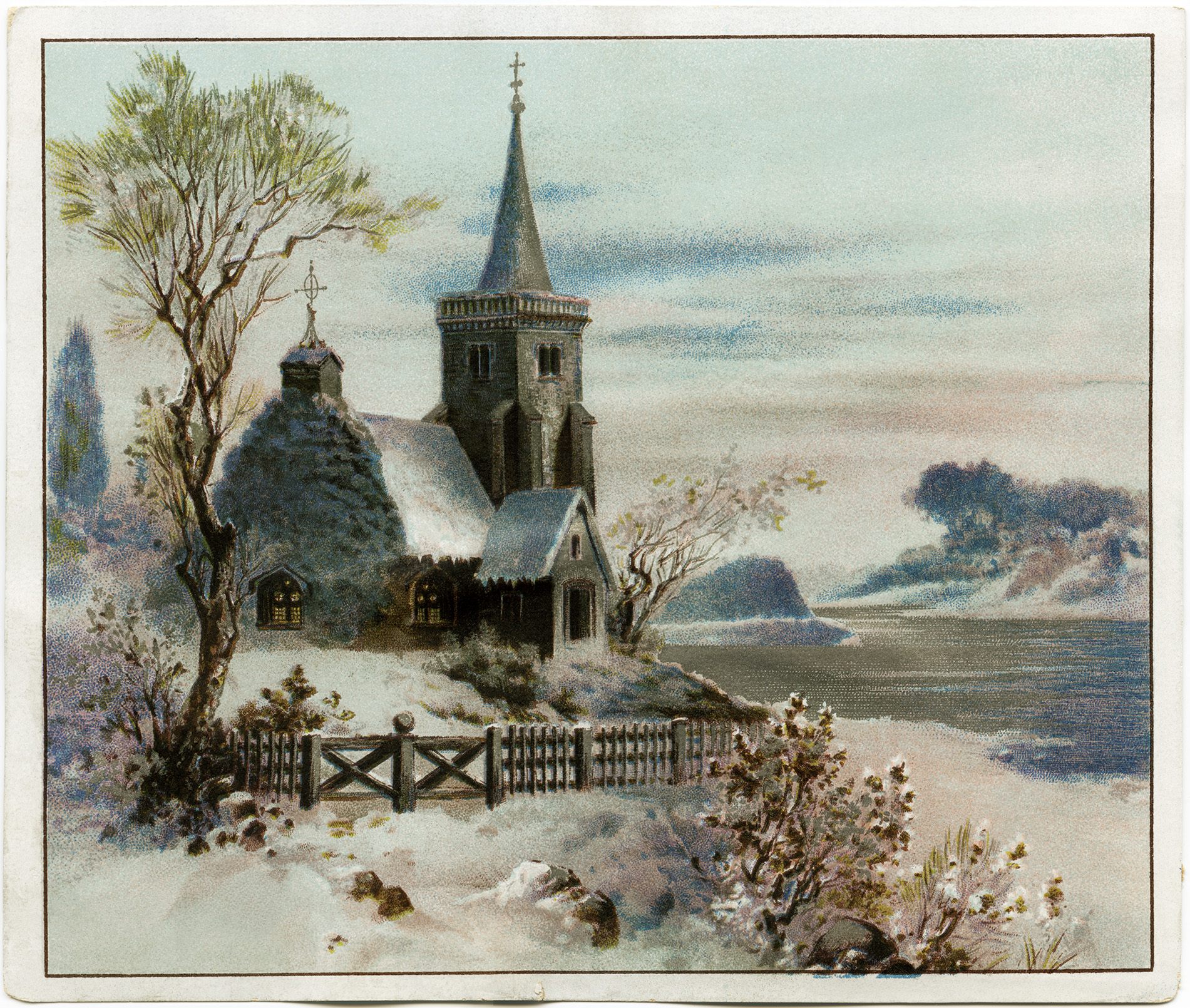 Victorian clipart christmas winter scene Scene Graphic (Wording Church Christmas