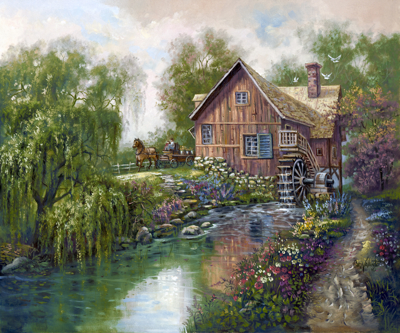 Watermill clipart country scene Old The Beside The do