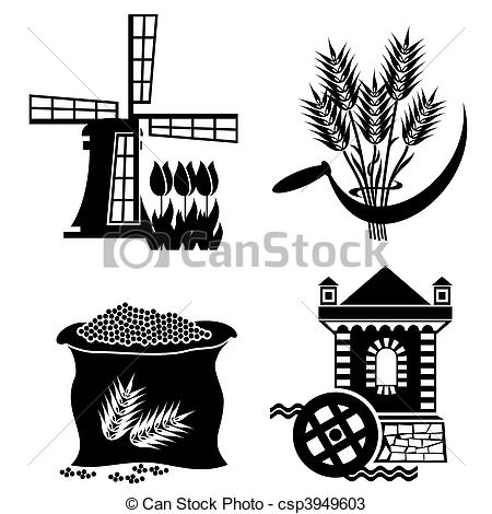 Mill clipart flour mill Mill  processing Vector of