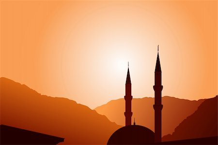 Minarets clipart Sunset Mosques background on mosque