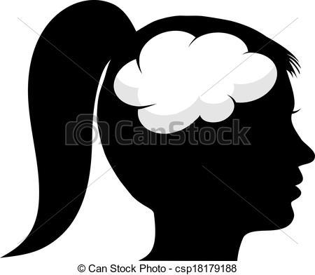 Brains clipart silhouette Silhouette brain Search Female csp18179188