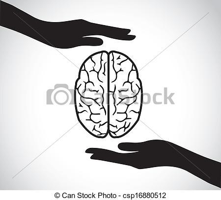 Mind clipart mental health Vector of Art brain hand