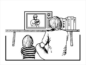 Watch clipart watch television White black Clipart Watching Tv