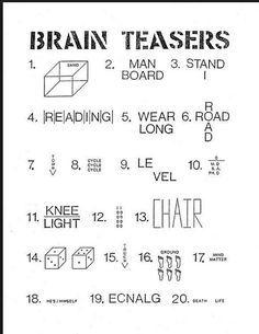 Mindteaser clipart brain workout For for 25+ teasers worksheets