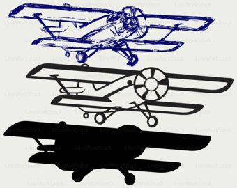Aviation clipart old plane Airplane old silhouette Airplane Etsy