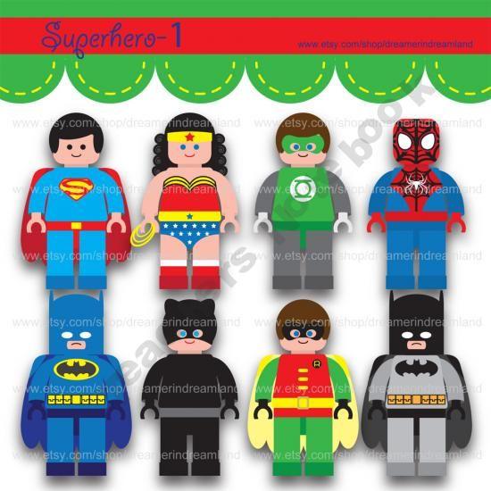 Mini clipart superheroes Superhero Printable Art Mini File