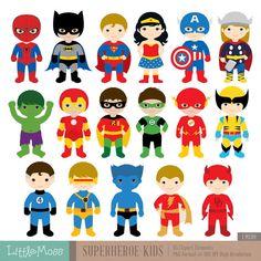 Mini clipart superheroes LittleMoss  by Clipart Superhero