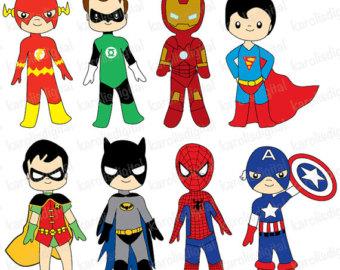 Mini clipart superheroes Flash art ironman batman set