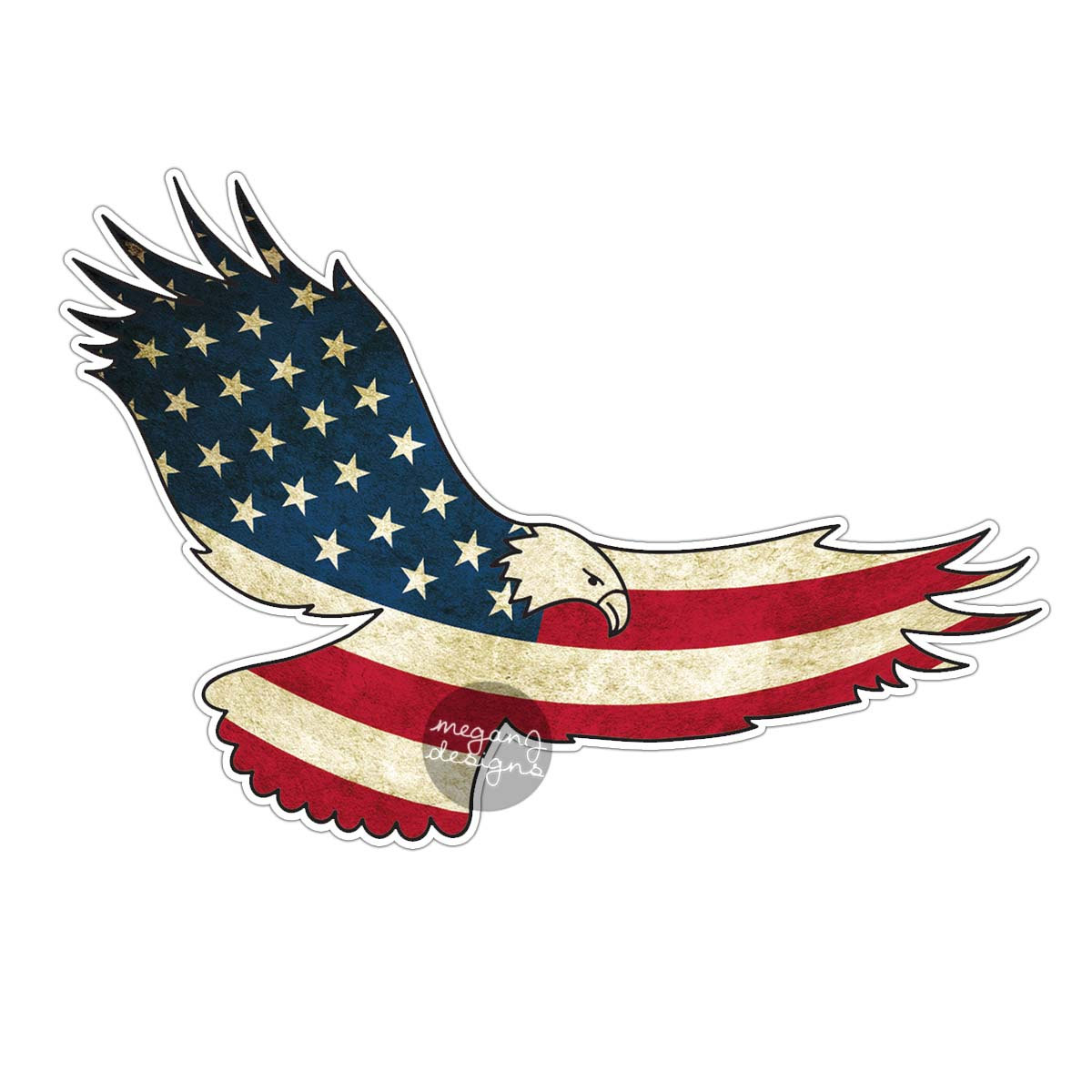 Miniature clipart american flag Bumper Decal  USA American