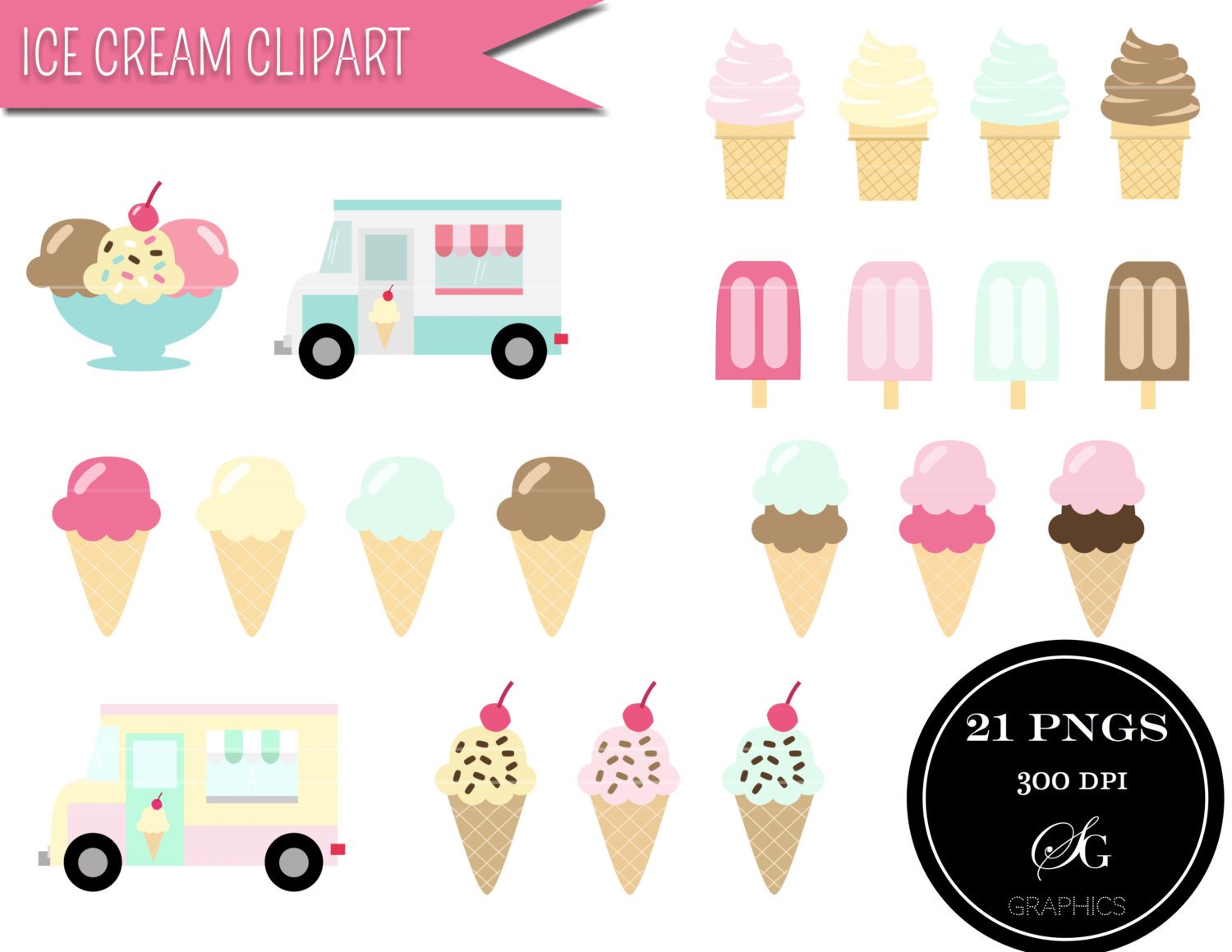 Mint clipart icecream Clipart cone cream cream digital
