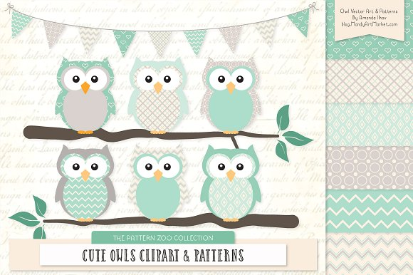 Mint clipart owl & Illustrations Mint Owls &