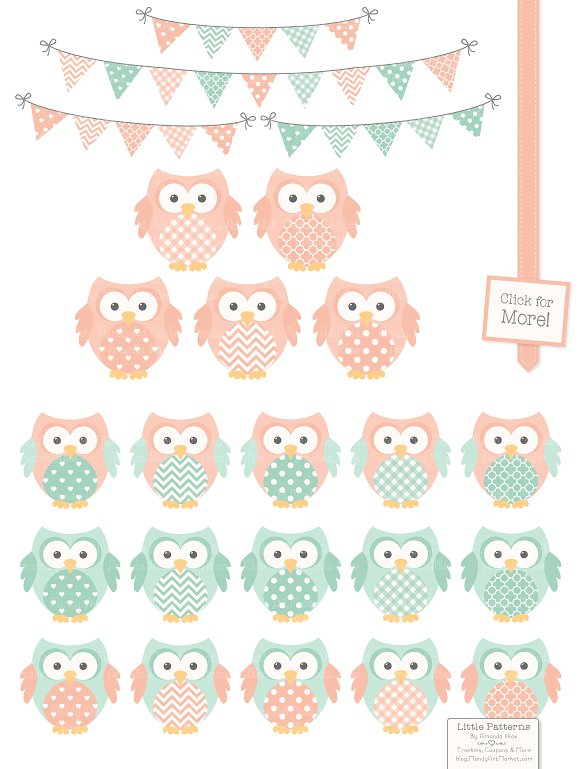 Mint clipart owl & & Market  Illustrations