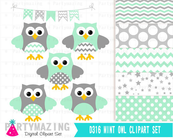 Mint clipart owl Set Mint Set Mint Cute