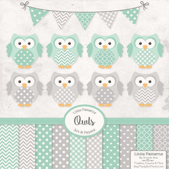 Mint clipart owl Clipart Papers Green Premium Digital