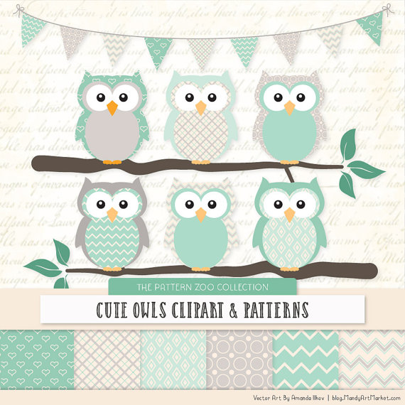 Mint clipart owl Owls Papers Baby Patterned Papers