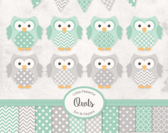 Mint clipart owl Clipart Papers Green Premium with