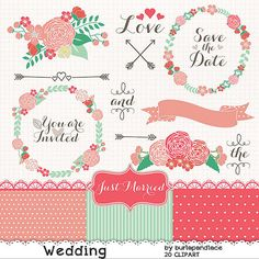 Mint clipart single Red bridal wedding chic Hand
