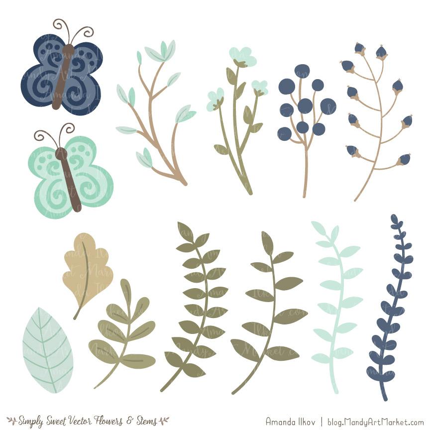 Mint clipart sweet Vectors Mint Flower Clipart &