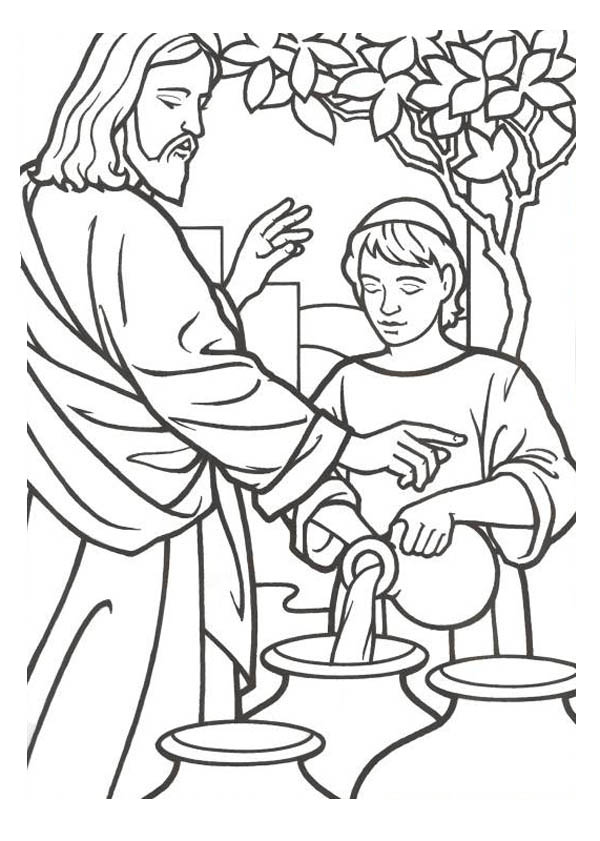 Coloring Water Page Jesus into