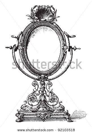 Drawing Clip Old Mirror Old