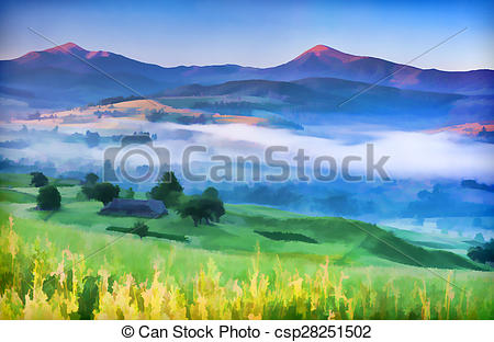 Mist clipart the mountain Village Illustration a with in