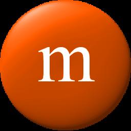 M&m clipart symbol Orange edges 256x256 smooth pixels