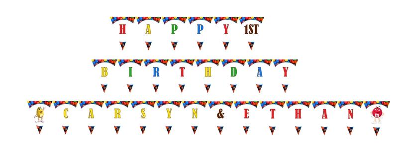 M&m's clipart birthday Birthday Banner Pennant Banner Birthday
