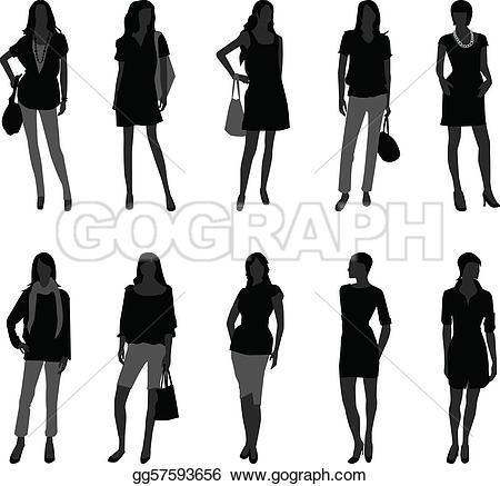 Model clipart fashion shopping EPS A Vector of fashion