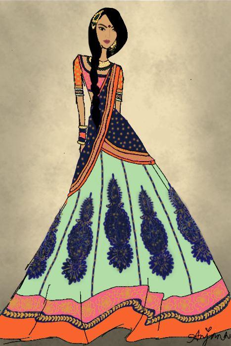 Model clipart indian dress #7