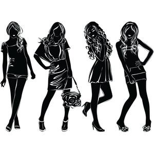 Model clipart silhouette vector Clip Polyvore Vector Black Fashion