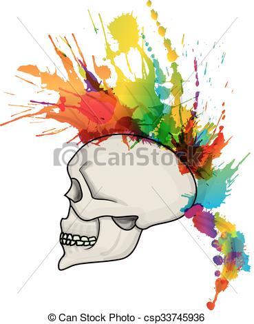 Mohawk clipart logo Hair mohawk Vectors of Skull