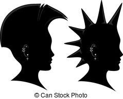 Mohawk clipart spiky hair Vector of Silhouette Illustration Mohawk