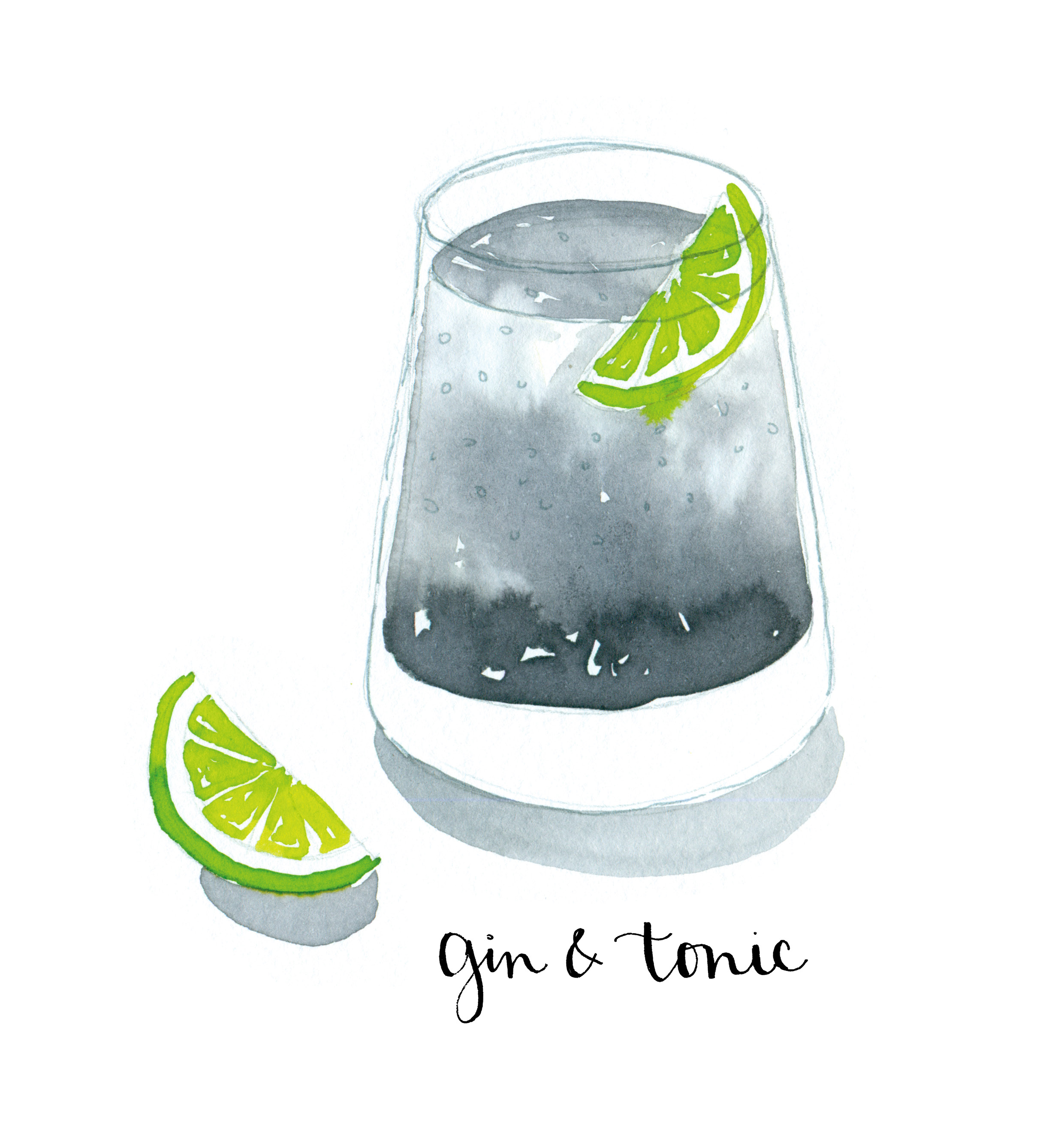 Drawn cocktail And Google tonic illustrative and