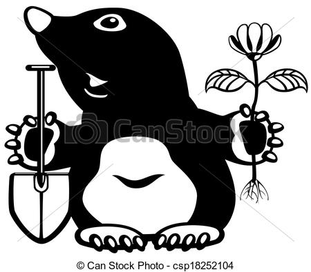 Mole clipart drawing Flower of black Vector Clipart