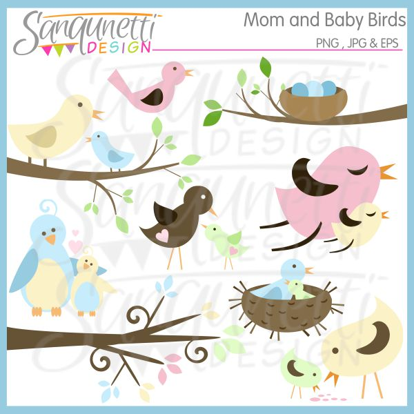 Brds clipart mother and baby · on Baby branches Mom
