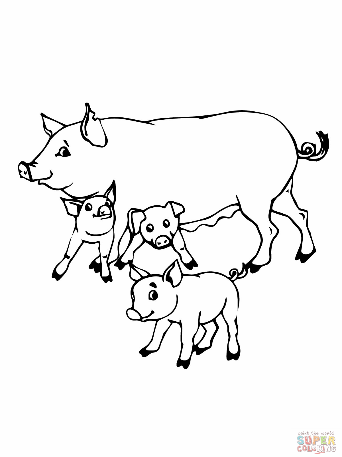 Mommy clipart baby pig Free  coloring Pages Pig